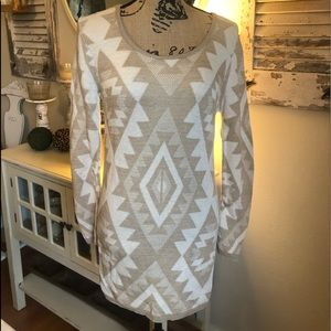 Sweater dress cream and tan.  Size small NWT